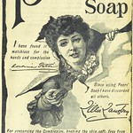 Woman bursting through paper in Victorian soap advertisement.